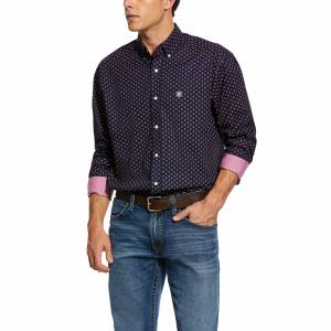 Ariat Mens Wrinkle Free Indham Print Classic Fit Long Sleeve Shirt