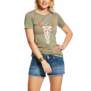 Ariat Ladies Floral Steer Skull Short Sleeve T-Shirt