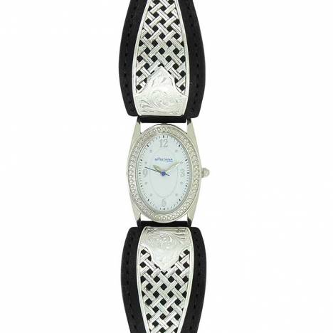 Montana Silversmiths Ladies Simple Legacy Weave Leather Watch