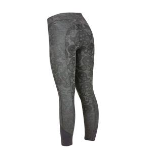 Dublin Ladies Black Fleur Full Seat Tights