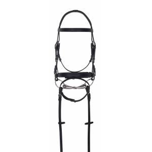 Aramas Double Raised Padded Dressage Bridle with Leather Reins