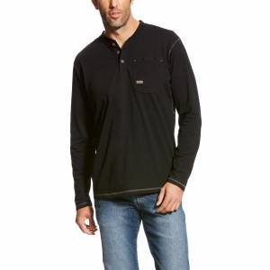 Ariat Mens Rebar Long Sleeve Pocket Henley Shirt