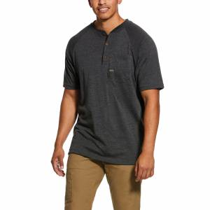 Ariat Mens Rebar Cotton Strong Short Sleeve Henley Shirt