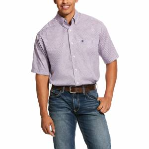 Ariat Mens Wrinkle Free Perry Print Classic Fit Short Sleeve Shirt