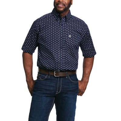 Ariat Mens Theodore Print Stretch Short Sleeve Classic Fit Shirt