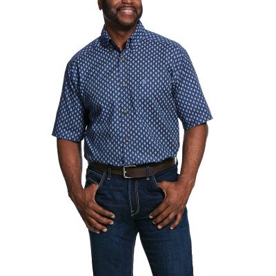 Ariat Mens Trussville Print Stretch Short Sleeve Classic Fit Shirt