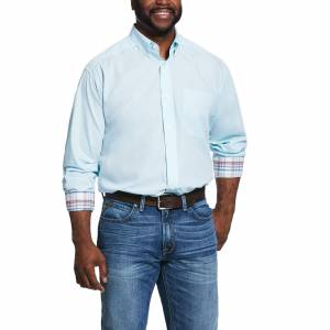 Ariat Mens Wrinkle Free Solid Pinpoint Oxford Classic Fit Long Sleeve Shirt