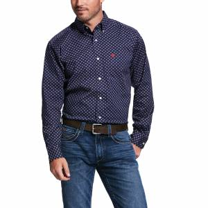 Ariat Mens Venton Print Stretch Fitted Long Sleeve Shirt