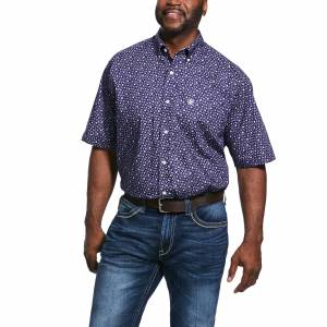 Ariat Mens Wrinkle Free Ulton Print Classic Fit Short Sleeve Shirt