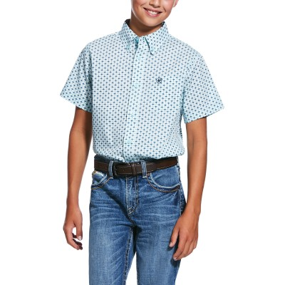 Ariat Kids Reedley Print Stretch Classic Fit Short Sleeve Shirt