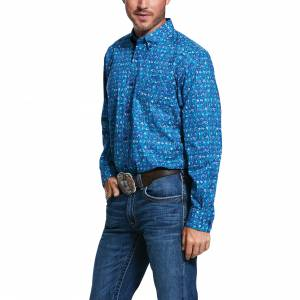 Ariat Mens Stockton Print Stretch Classic Fit Long Sleeve Shirt