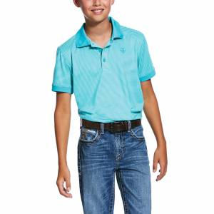 Ariat Kids Micro Stripe TEK Button Short Sleeve Polo Shirt