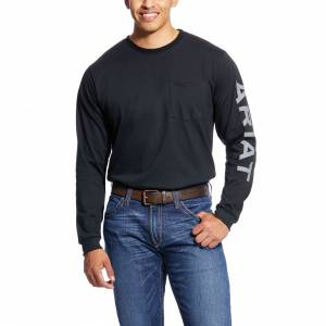 Ariat Mens Flame Resistant Pocket Logo Long Sleeve Crew T-shirt