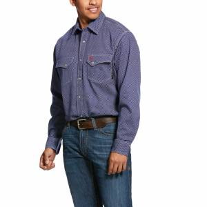 Ariat Mens Flame Resistant Mantle Classic Fit Snap Work Shirt
