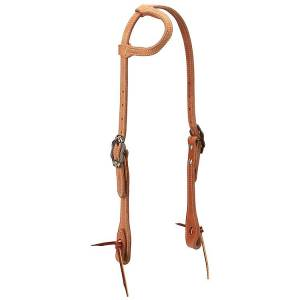 Weaver Rough Out Russet Sliding EarHeadstall with Spots