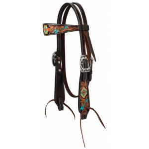 Weaver Leather Turquoise Cross Navajo ArrowStraight Brow Headstall
