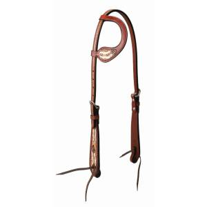 Weaver Leather Turquoise Cross Coco FeatherSliding Ear Headstall