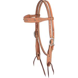 Martin Saddlery Pewter/Black Parachute Dots Browband Headstall