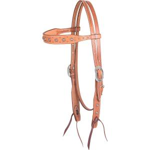 Martin Saddlery Rope Edge Antique Copper Dots Browband Headstall