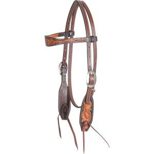 Martin Saddlery Floral Tooled Browband Dyed Edge Headstall