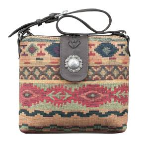 American West Woven Tapestry Zip Top Shoulder Bag