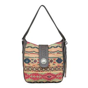 American West Hand Woven Tapestry Soft Zip Top Shoulder Hobo