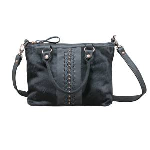 American West Cow Town Small Zip-Top Conceal Carry Satchel - Black Hair
