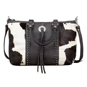 American West Cow Town Large Zip-Top Conceal Carry Satchel - Pony Hair
