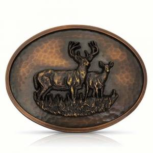 Montana Silversmiths Nature Deer Couple Attitude Oval Hammered Belt Buckle