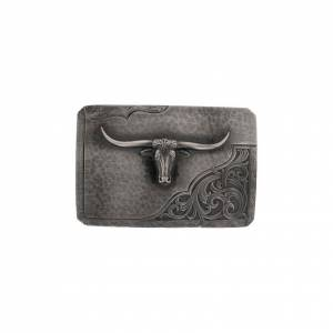 Montana Silversmiths Stormy Rough Out Longhorn Western Belt Buckle