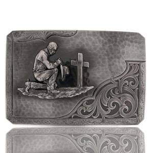 Montana Silversmiths Stormy Rough Out PrayingCowboy Western Belt Buckle