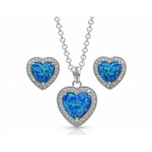 Montana Silversmiths Halo Heart Opal Jewelry Set