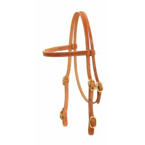 Tory Leather Cowboy Old Time Brow Band Headstall With Solid Brass Buckle Bit Ends