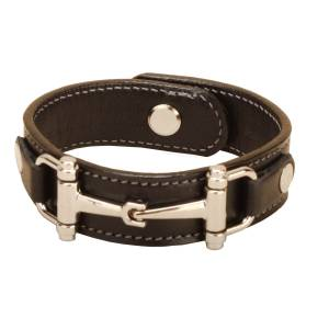 Tory Leather Bracelet With Snaffle Bits And Stud Button Closure
