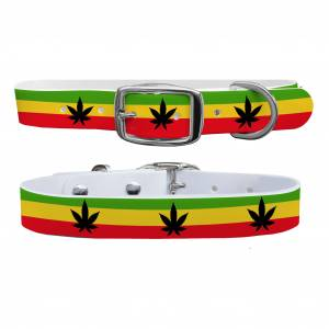 C4 Dog Collar Rasta Weed Collar