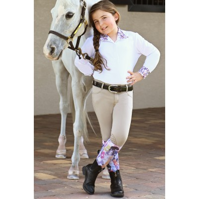 Ovation Euro Melange Knee Patch X-Grip Breeches - Kids