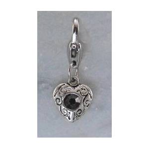 Barbary Silver Heart with  Jet Stone Charm