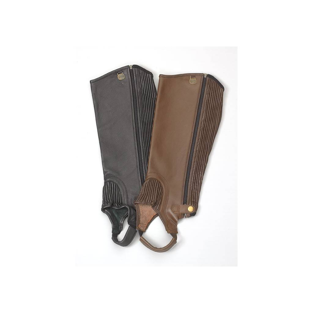 Ovation Ladies Top Grain Leather Stretch Ribb Half Chaps with Zipper