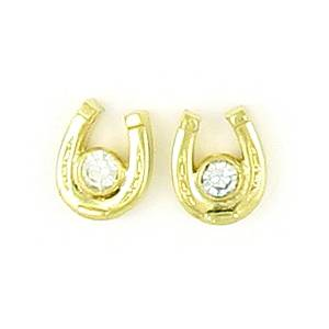 Finishing Touch Horseshoe with  Bezel Stone Earrings