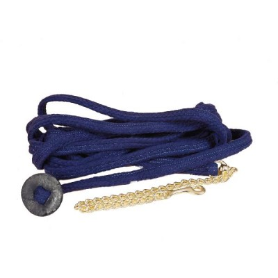 TORY LEATHER Flat Braided Cotton Rope Lunge Line with  Brass Plated Chain