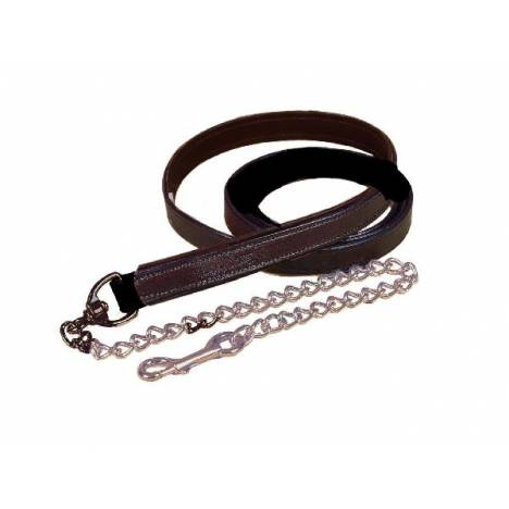 """Tory Leather 1"""" Padded Lead with Brass Chain"""