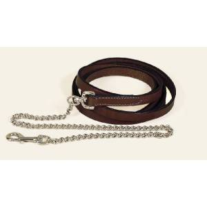 TORY LEATHER Single Ply Lead with  Nickel Plated Chain