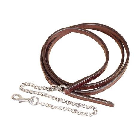 "TORY LEATHER 3/4"" Full Double & Stitched Lead with Nickel Plated Chain"
