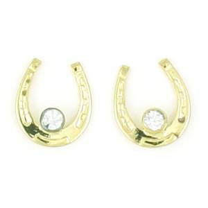 Finishing Touch Horseshoe with  Large Stone Earrings