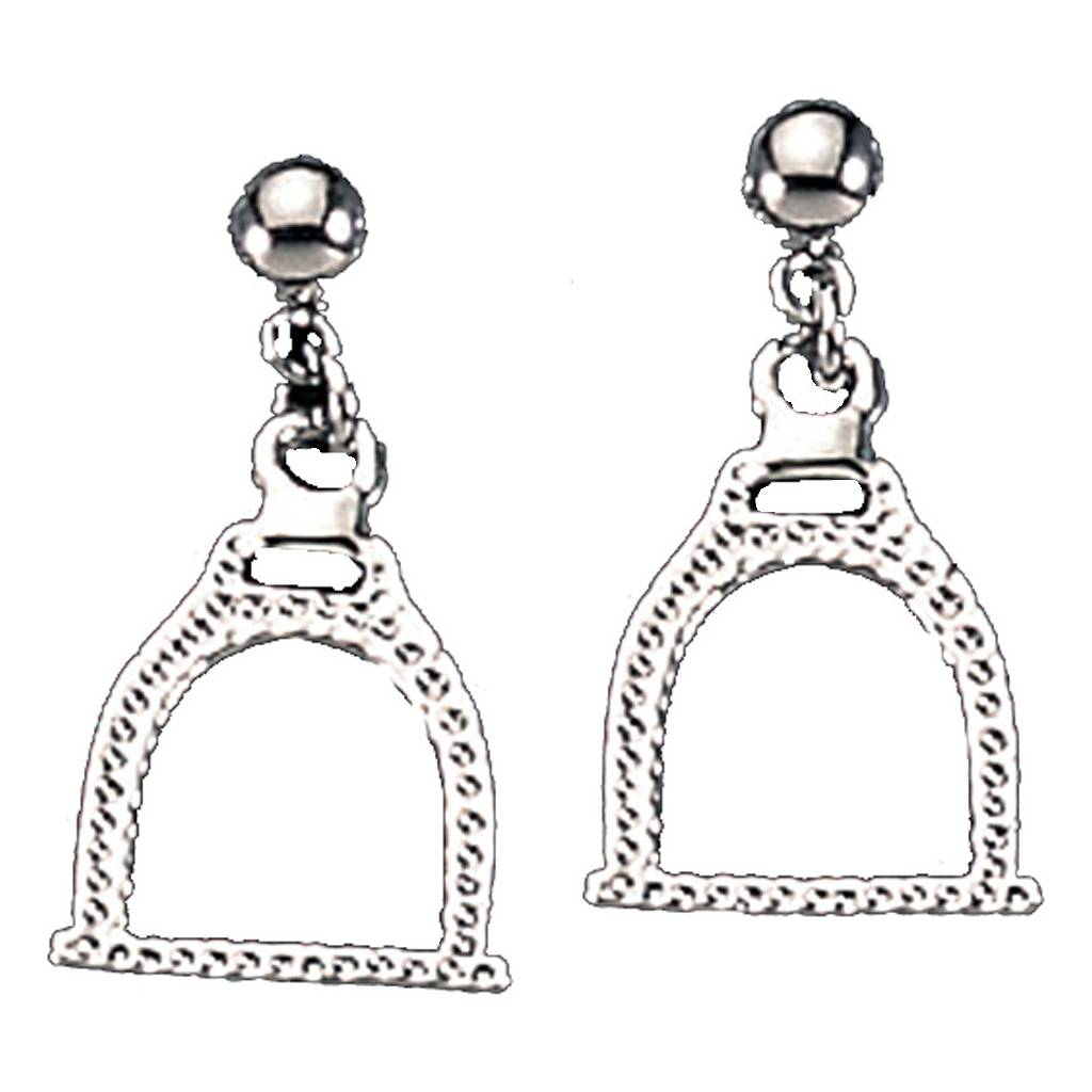 Exselle Textured Stirrup Earrings - Platinum Plate