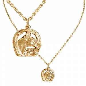 Exselle Horse Head in Horseshoe Pendant - Gold Plated