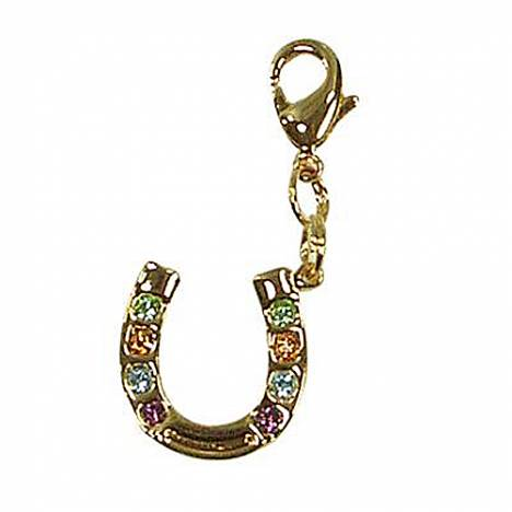 Exselle Horseshoe with Stones Zipper Pull - Gold Plate