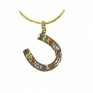Exselle Horseshoe with Color Stones Pendant - Gold Plate