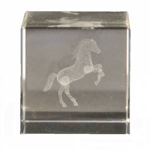 Crystal Etched Rearing Horse Paperweight