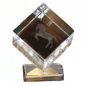 Crystal Etched Rearing Horse Paperweight with Base